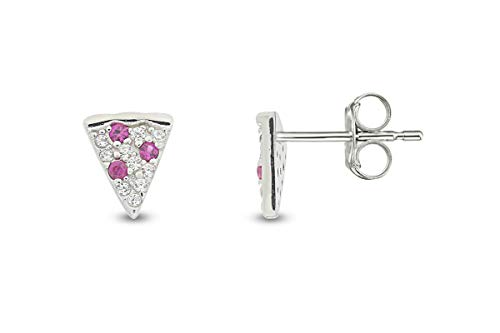 14k White Gold Plated 925 Sterling Silver Simulated Ruby & Cubic Zirconia Tiny Dainty Pizza Stud Earrings Jewelry Gift for womens