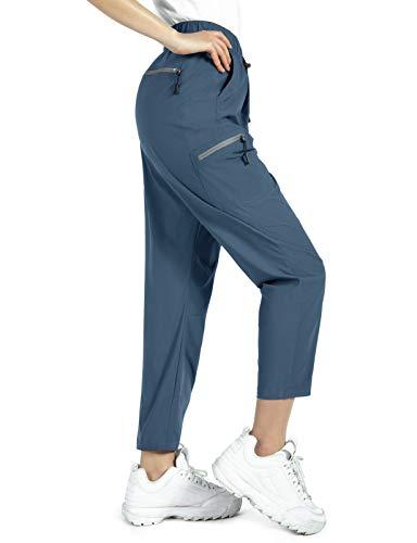 Wespornow Damen Outdoorhose Wanderhose mit Reißverschlusstaschen-Schnelltrocknend-Trekkinghose-Jogginghose-Ultraleichter -Atmungsaktiv Sommer Hosen Arbeits-Funktions-Hose (Blau, Mittel)
