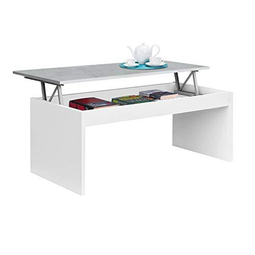 Mesa de Centro Elevable, Modelo Zenit, Mesita Salon Comedor, Acabado en Blanco Artik y Cemento, Medidas: 102 cm (Ancho) x 43/54 cm de (Alto) x 50 cm (Fondo)