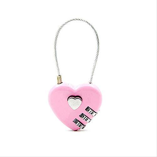 LMDZSW Heart Shaped Padlock 3 Dial Digit Passwort Lock Gepäck Passwort Vorhängeschloss Double Mood Love Lock Reisegeschenk 4...