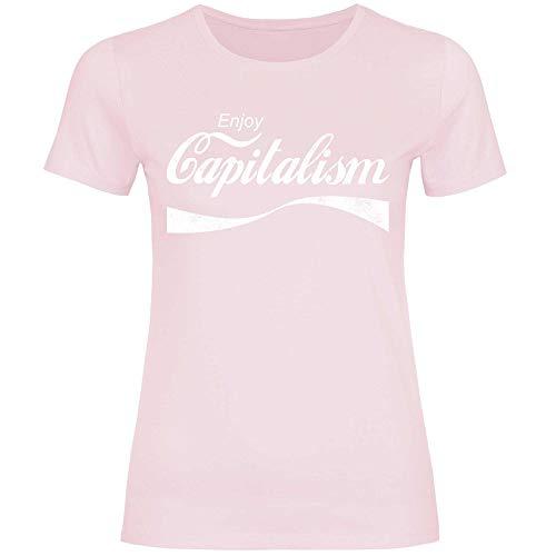 wowshirt Camiseta Enjoy Capitalism políticas de devolución de Dinero capitalismo Auto empresarios para Mujer, Tamaño:S, Color:Orchid Pink