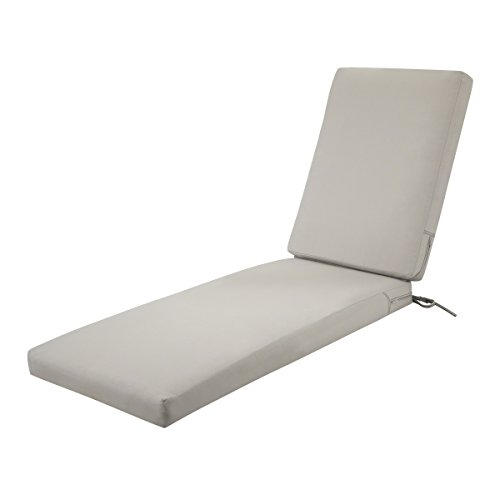 Classic Accessories Ravenna Water-Resistant 72 x 21 x 3 Inch Patio Chaise Lounge Cushion, Mushroom