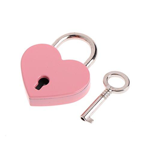 MENTIN antigua forma de corazón Mini candado de estilo antiguo Archaize candado con llave, rosa
