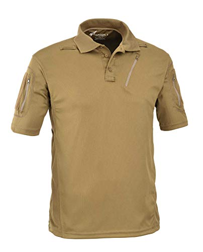 Defcon 5 Advanced Tactical Polo Short Sleeves with Pockets Made of Polyester Mesh (X-Small, Coyote Tan)