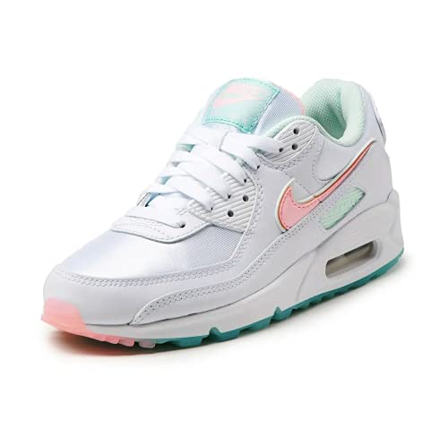 Nike Wmns Air MAX 90, Zapatillas Deportivas Mujer, White Barely Green Light Dew Arctic Punch, 41 EU