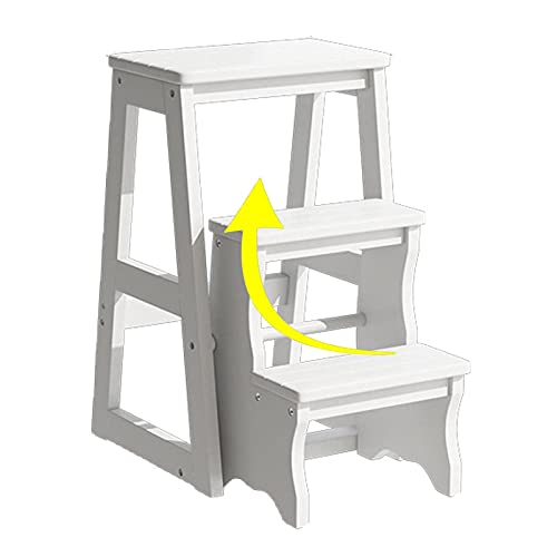 GAXQFEI Step Ladder, Pieghevole Stepladder Wood 3 Step Sgabello, per Adulti Kids Kitchen Kitchen Ladder in Legno Piccolo Piede Sgabelli Sgabelli, Unità 300 Libbre,Bianca