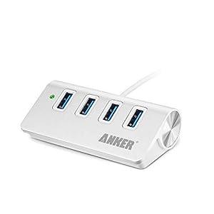 Anker 4-Port USB 3.0 Unibody Aluminum Portable Data Hub with 2ft USB 3.0 Cable for MacBook, Mac Pro/Mini, iMac, XPS…