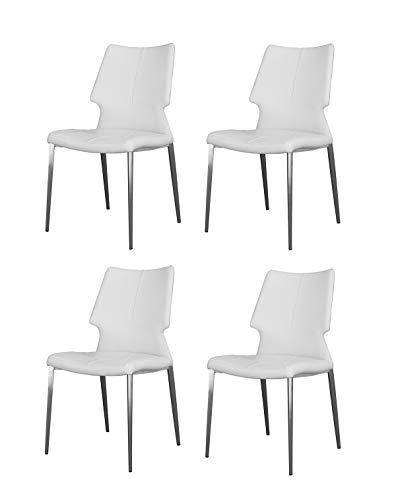 Meubletmoi - Set di 4 sedie in Similpelle, con Base in Metallo, Comfort ergonomico, Design Contemporaneo, Colore: Latte