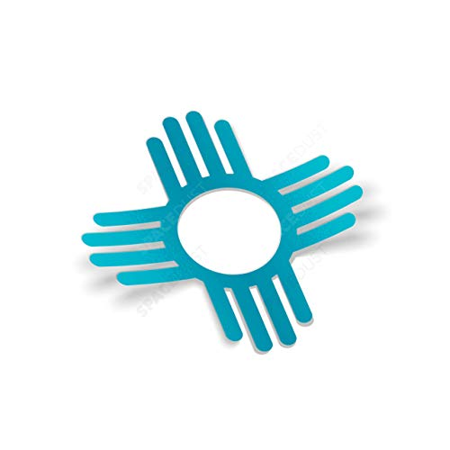 "Zia Symbol Two Sticker Set: 4″ Turquoise Weatherproof Window Vinyl Decals (4"", Turquoise)"