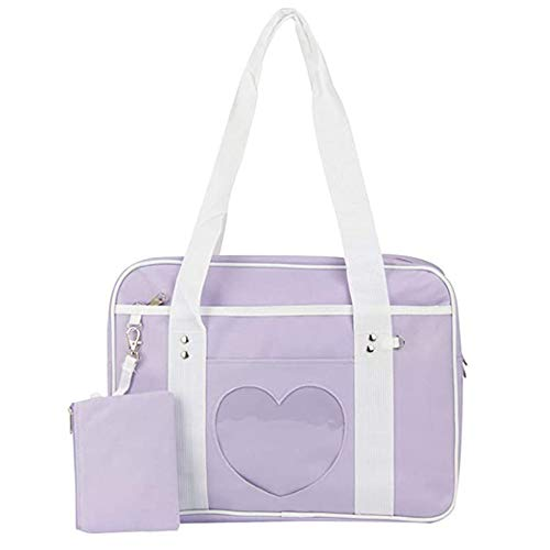 AlwaySky Ita Tasche Herzform Fenster Japanische Schule Handtasche Große JK Tasche Mädchen Duffle Geldbörse Anime Schulranzen für Lolita Comic DIY Lila