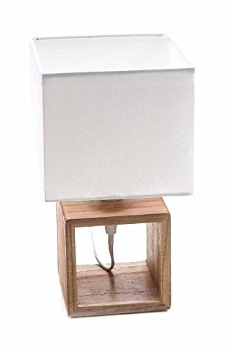 Unbekannt Tischlampe von Grundig, Holz-Fuß, Textil-Schirm, Design elegant, Form quadratisch, E14/25W max, lieferbar in 3 Größen (Höhe 25 cm)