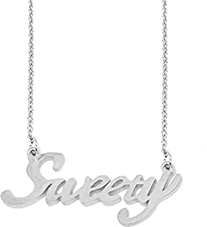 Utkarsh Silver Color Fancy & Stylish Trending Valentine's Day Special Metal Stainless Steel Sweety Name Letter Locket Pend...