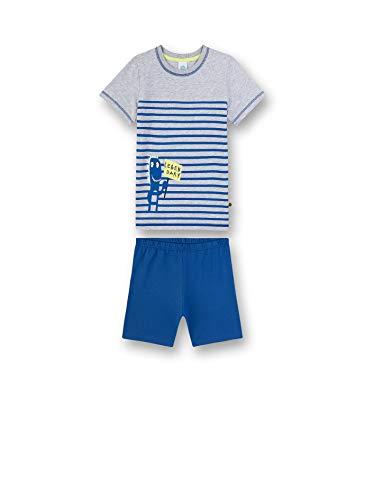 Sanetta Jungen Pyjama kurz Zweiteiliger Schlafanzug, Grau (grau 1646), (Herstellergröße:128)