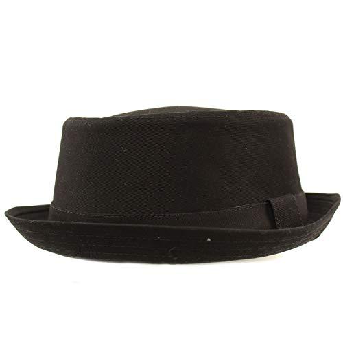 Men's Everyday Cotton All Season Porkpie Boater Derby Fedora Sun Hat L/XL Black