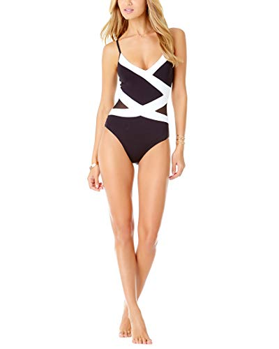 Anne Cole Women's Spliced Over The Shoulder Sexy One Piece Swimsuit, Color Block mesh Black/White, 16