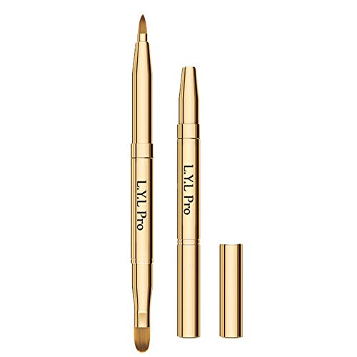 L.Y.L Pro Gold Retractable Lip Makeup Brushes Double-Ended Retractable Lip Brush Travel Lipstick...