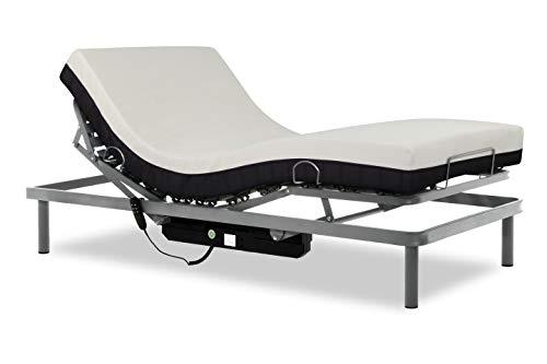 Gerialife® Pack Cama articulada eléctrica con colchón ortopédico viscoelástico 20 cm. (90x190, Plateado)