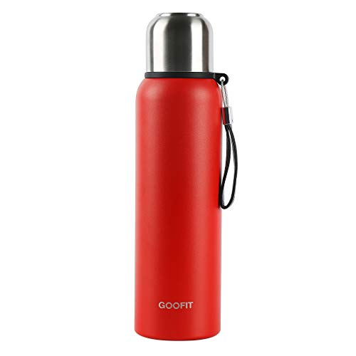 GOOFIT Outdoor Sports Bottle Stainless Steel Vacuum Sealed Insulated Thermos 27Oz Red