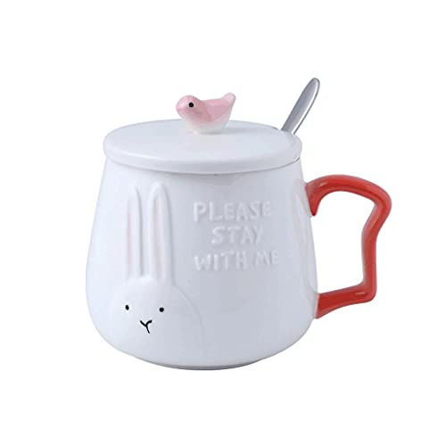 ZANZAN Taza de café Linda en Relieve con Tapa, Gran Taza de cerámica para Bebidas frías/Calientes, Taza de Bebida Reutilizable y Cuchara con Tapa-Rosa/Azul (Color : Rabbit)