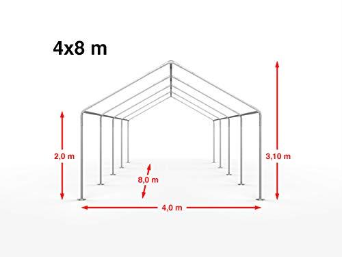 TOOLPORT Hochwertiges Partyzelt 4x8 m Pavillon Zelt 240g/m² PE Plane Gartenzelt Festzelt Wasserdicht weiß - 2