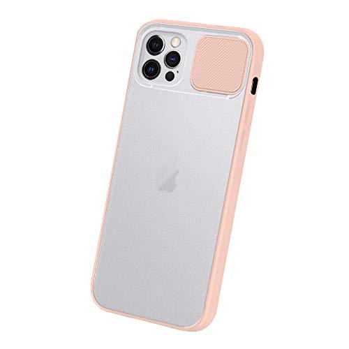 Dqtaoply Funda para iPhone 12 Pro Max, elegante funda protectora con lente de cámara, cubierta translúcida, carcasa rígida mate + carcasa de silicona TPU para iPhone 12 Pro Max (rosa)