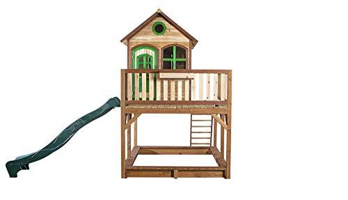 Beauty.Scouts Holzspielhaus Vinny mit Veranda + Rutsche + Leiter + Sandkasten 255x377x291cm aus Zedernholz in braun Spielhaus Kinderspielhaus Holzhaus Stelzenhaus
