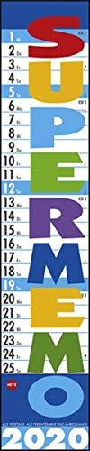 Supermemo. Wandkalender 2020. Monatskalendarium. Spiralbindung. Format 17 x 85 cm