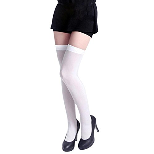 style_dress overknee strümpfe Damen Stützstrümpfe Frauen elastische Kniestrümpfe Spitze Oberschenkel Strumpf Strumpfhosen Strapsstrümpfe A (Weiß)