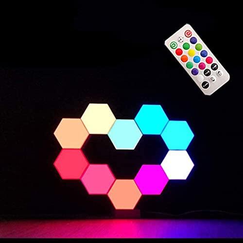 Aplique Pared con Control Remoto Luz Noche LED Inteligente Modular Sensible Tacto, Luz Pared Inteligente Hexagonal, Lámpara con Motivos Sensibles Tacto con Luz Noche USB, Paquete de 10