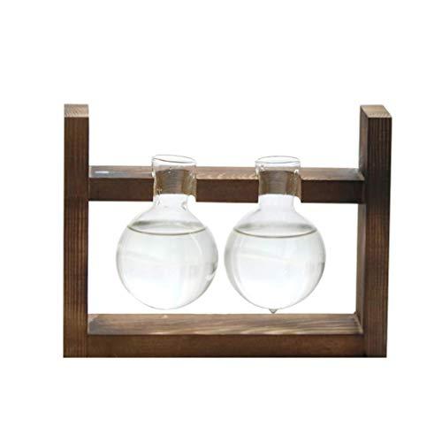 XYSQWZ Blumentopfaufhänger, Blumentopfuntertassen, Glaskugelvase Mit Holzständer Luftpflanzenhalter Vase Tischglas Terrarium Mit Zwei Röhrenvasen Für Gartenschreibtisch Im Innenhof