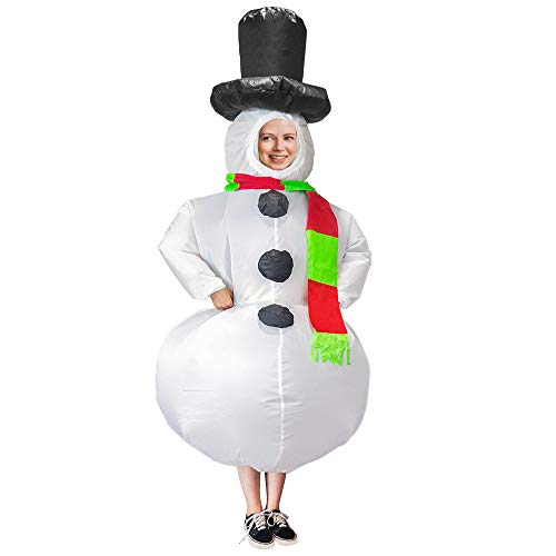 Inflatable Costume for Adults Funny Blow Up Costume Suit for Christmas Halloween Cosplay, Snowman and Reindeer Riding (Snowman)