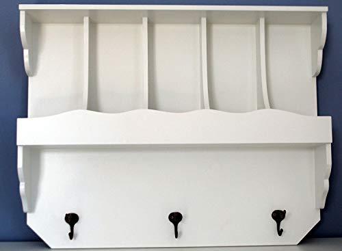 IMC Manufactoria wandrek met vakken en haken in landelijke stijl garderobe voordelig nieuw wit