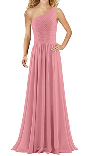 ANTS Women's Pleat Chiffon One Shoulder Bridesmaid Dresses Long Evening Gown Size 2 US Blush