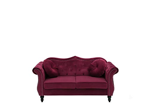 Beliani Stilvolles und Elegantes 2-Sitzer Sofa in Dunkelrot SKIEN