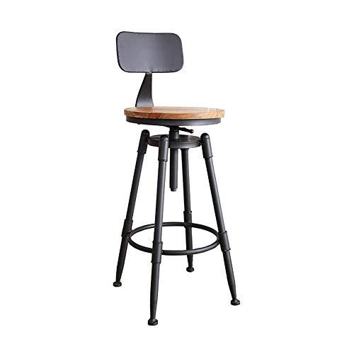 Barstools-BYTGK IJzeren barkruk in hoogte verstelbaar metaal industriële barkrukken met voetsteunen en houten kussens ontbijt eetzaal huisstoelen teller keuken kantoor J1120