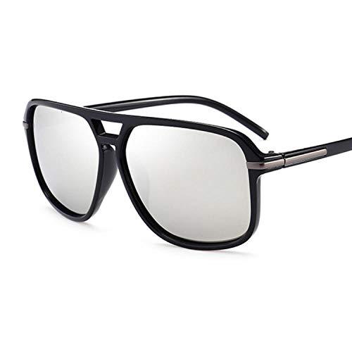 OcchialidaSole Moda Occhiali da Sole Quadrati Polarizzati Uomo Donna Occhiali da Sole Vintage Uomo Donna Uv400-Black_Silver