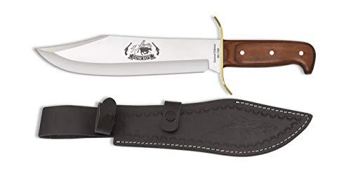 Cuchillo Albainox 32284 Cowboy madera. Hoja: 25 Herramienta para Caza, Pesca, Camping, Outdoor, Supervivencia y Bushcraft + Portabotellas de regalo
