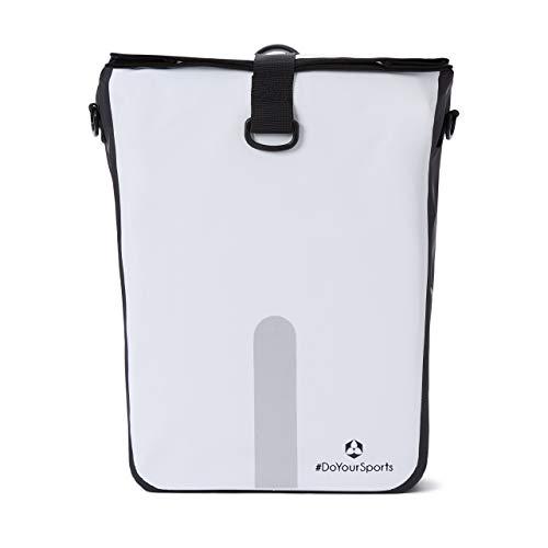 #DoYourOutdoor 3in1 Hinterradtasche mit praktischem Schnellverbindungssystem für Gepäckträger - Wasserdicht & Reflektierend - 21 Liter Rolltop- Fahrradtasche mit Schultergurt, Tragegriff - weiß