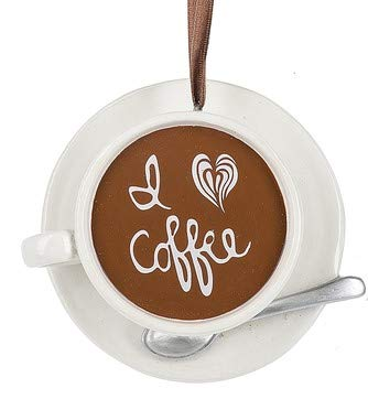 On Holiday I Love Coffee Cup with Saucer and Spoon Christmas Tree Ornament