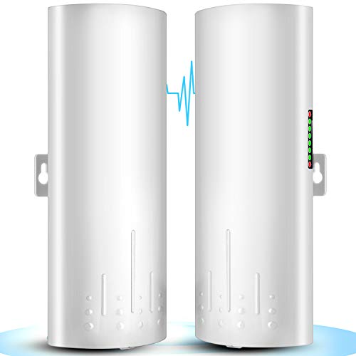Wireless Bridge, UeeVii 5.8G Outdoor CPE Point to Point Long Range Access with 14DBi High Gain 22 Mimo Antenna, PoE Adapter, 2 RJ45 LAN Ethernet Port, 2-Pack