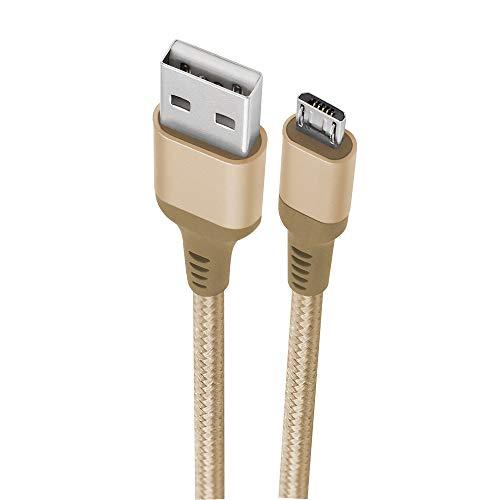 Cabo Micro USB, Geonav, ESMIGO, Nylon Trançado, 1M, Dourado