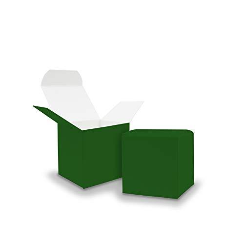 Itenga 50x scatole regalo in cartone da riempire (calendario dell'avvento, bomboniera per matrimonio, battesimo, nascita), verde scuro, Würfel 5x5cm