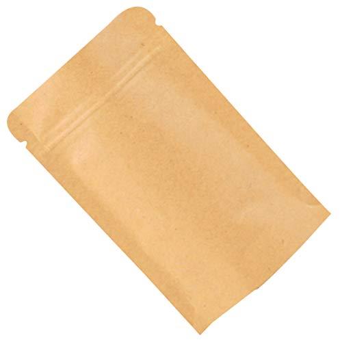 10st hersluitbare ritssluiting effen kleur kraftpapier folieslot papieren zak, stevige zak opstaan Heat Seal food grade zakje
