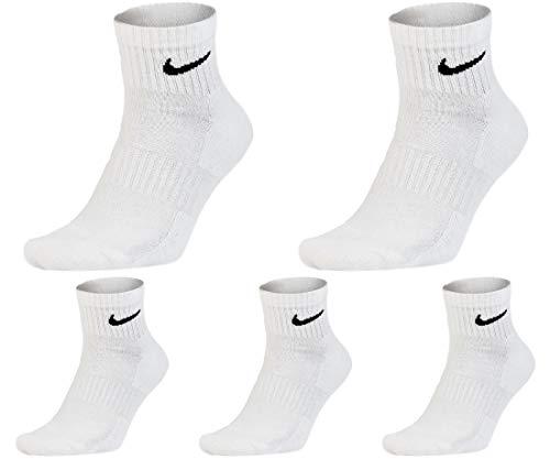 Nike Socken Kurz 5 Paar Weiß Schwarz Damen Herren Knöchelhoch Sparset Sportsocken Größe 34 36 38 40 42 44 46 48 50, Farbe:weiß, Größe:46-50