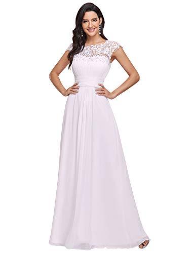 Ever-Pretty Vestido de Boda Encaje Gasa Cuello Redondo Corte Imperio A-línea para Mujer Blanco 38