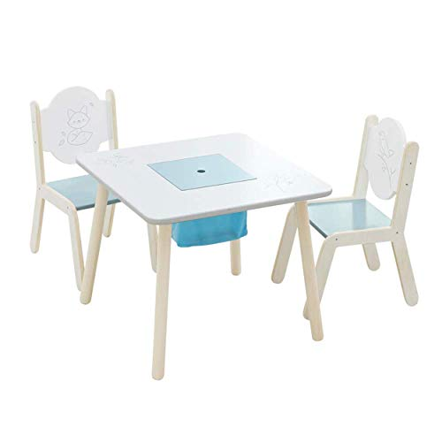 Labebe Wooden Activity Table Chair Set, Bird Printed White Toddler Table with Bin for 1-5 Years, Learning Table/Kid Picnic Table/Cute Bedroom Furniture/Boy Furniture/Baby Girl Table Set/Kid Desk Chair