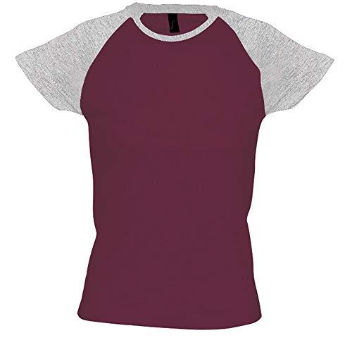 SOLS - Camiseta de Manga Corta Bicolor Modelo Milky para Mujer (S) (Burdeos/Gris)