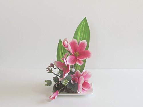 Blumendekoration Magnolien in Rosa Wicken künstliche Blumen Tischgesteck Blumengesteck Seidenblumen Blumendekoration Muttertagsgeschenk Hochzeit Geburtstag