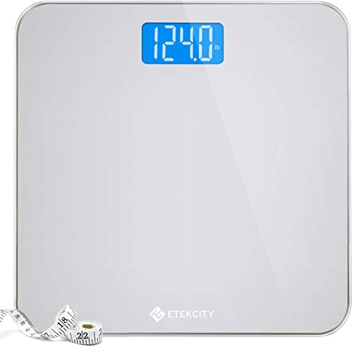 Etekcity Bathroom Body Weight Scale, Round Corner Platform Digital Scale, Large Backlit Display and High Precision Measurements(Digital Scale New), Body Tape, 400 lb/180 kg