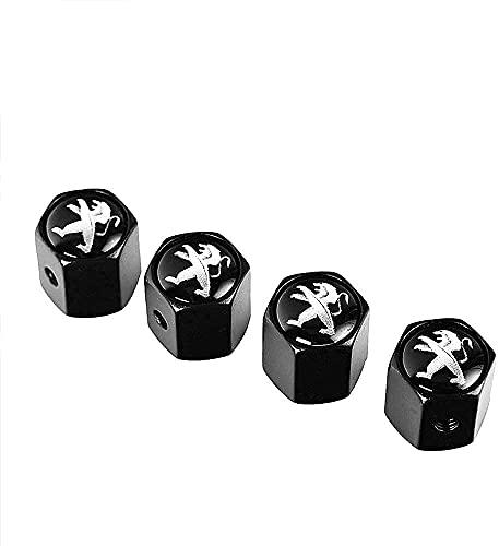 Coche Neumático Tapas Válvulas para Peugeot 308 408 508 205 206 208 3008 2008 4008 5008 307 406 407 207 301, Antirrobo Antipolvo Resistente Agua Decoración Accesorio
